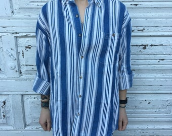 90s Basic Editions Blue White Striped Denim Cotton Long Sleeve Button Up Oversized Shirt - Large