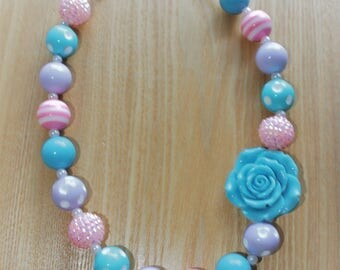 Blue Flower Pendant with Pink and Purple Accents, Cotton Candy Inspired Chunky Bead Necklace