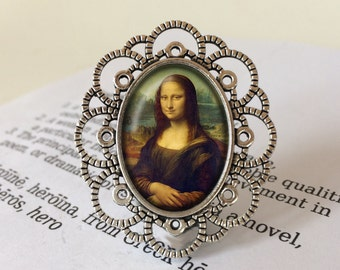 Mona Lisa Brooch - Leonardo da Vinci Brooch, The Mona Lisa Gift, The Louvre Brooch, Leonardo da Vinci Jewelry, La Joconde Renaissance Brooch