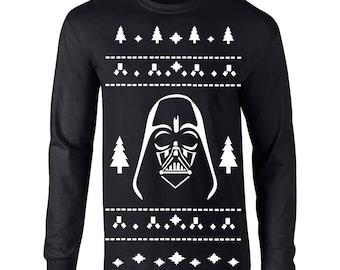 Vader Ugly Christmas Sweater darth star geek nerd wars gift dark jedi party costume vintage  - Apparel Clothing - Long Sleeve shirt - 358