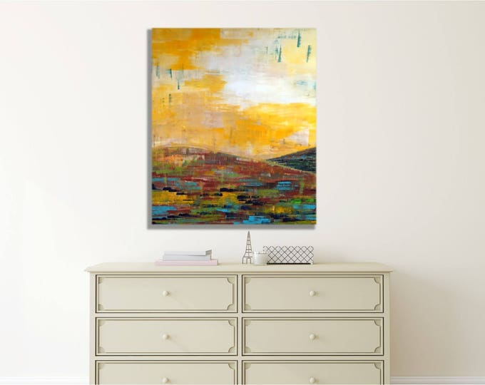 Art Canvas Print Giclee Painting landscape -- warm, modern, original wall art, multiple sizes available, great above the bed, over the couch