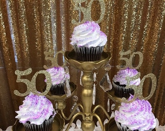 Any Number Birthday Cupcake Topper, Gold glitter cupcake topper, 50th Birthday cupcake toppers