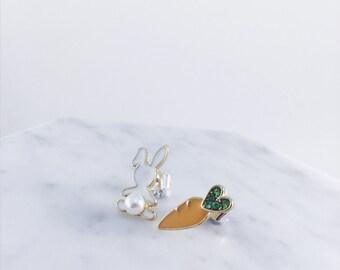 Rabbit & Carrot earrings; carrot earrings; cute; bunny rabbit earrings; vegetable earrings; rabbit earrings