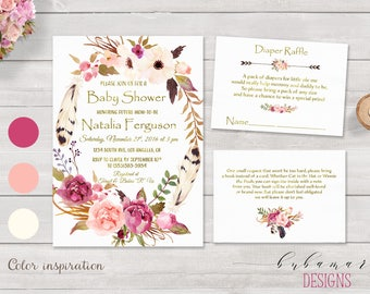 Printable Floral Baby Shower Invitation Pink Flower Wreath Invite Gold Letters Baby Shower Invite Bring Book Diaper Raffle Card - CS015