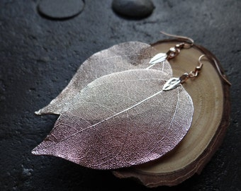 Real Natural Leaf Earrings, Rose Gold Plated