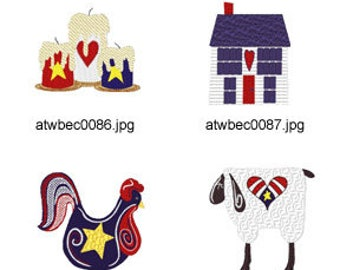 Oh-Americana ( 16 Machine Embroidery Designs from ATW ) XYZ17D