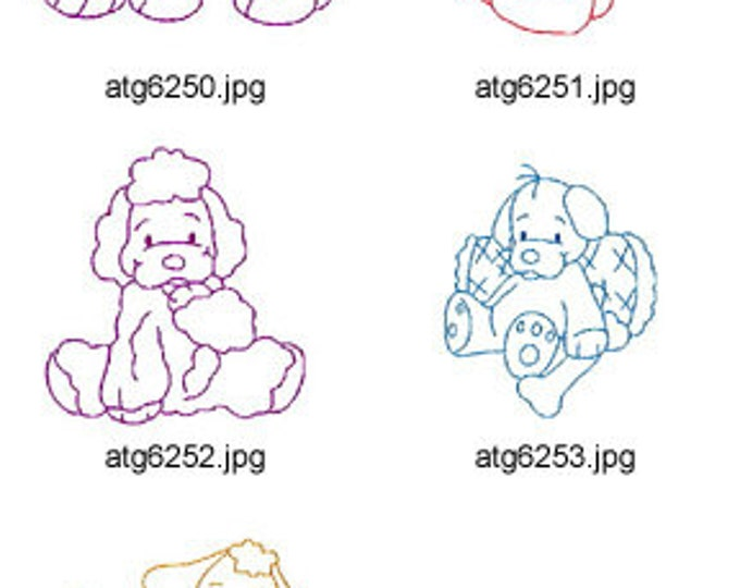 Simple-Puppies-I ( 5 Machine Embroidery Designs from ATW ). XYZ17C