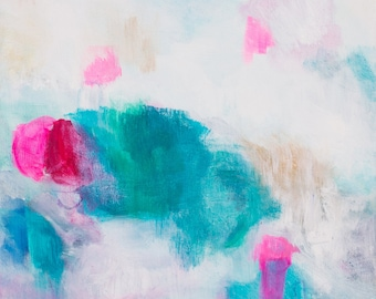Turquoise, pink, gold painting, abstract original painting, home decor, acrylic painting