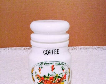 Milk glass coffee container by Giorgi decor, vintage coffee canister with vegetables pattern.