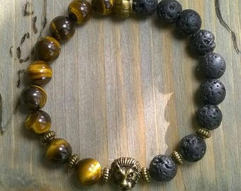 Bracelet Tigers eye lava bronze