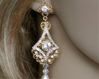 Vintage Inspired Art Deco Crystal Rhinestone and Pearl Goldplate Dangle Earrings, Bridal, Wedding (Pearl-187)