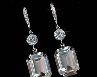 Handmade Swarovski Clear Emerald Cut Crystal & CZ Dangle Bridal Earrings, Bridal, Wedding (Sparkle-2325)
