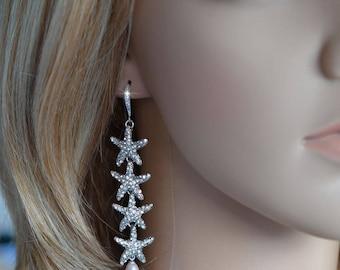 Handmade Long Crystal Rhinestone and Pearl Starfish Dangle Earrings, Destination or Beach Wedding, Bridal (Pearl-796)