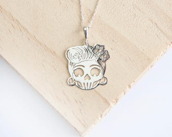 Shirley Candy Skull Pendant, Sterling Silver, Silver Candy Skull, Sugar Skull, Silver Sugar Skull, Sugar Skull Necklace, Candy Skull
