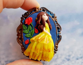 Belle with rose-beauty and the beast in Polymer clay fimo-Belle of the beauty and the best