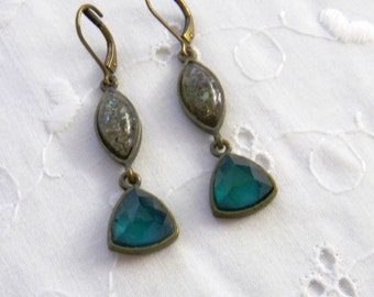 Vintage Bandolino Earrings, Gypsy Jewel Earrings by Bandolino; Jewel Green, Teal, Gray, Lever Back
