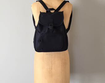 90s Yves Rocher backpack | navy blue cloth backpack | old stock new