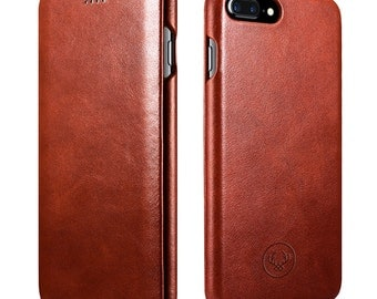 iPhone 7 Plus Case Minimal Beautiful hand crafted Leather Apple iPhone Flip Cover Genuine Cow Leather perfect phone case in Brown colour