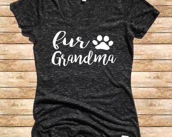 Women's Form Fitting V-Neck Fur Grandma Cursive - Dog Grandma Shirt