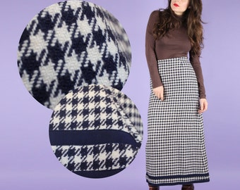 Cosy 80s Vintage Navy Houndstooth Maxi Skirt