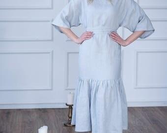 Long linen dress with ruffles and sleeves, pearl grey linen maxi dress, loose linen dress
