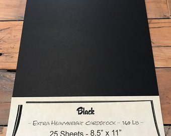 Black Extra Heavy Weight Cardstock 140 lb Paper 8.5 x 11 25 sheets