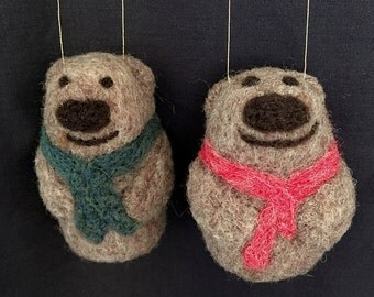 Needle Felted Sea Otter with Scarf, Ornament, Wool Soft Sculpture, Decoration, Pincushion
