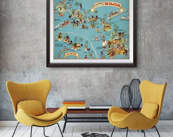 Vintage Hawaii Map From 1935 Old Hawaii Map Print Old Usa Map Print Art