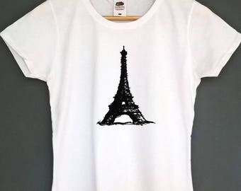 Graphic T Shirt Eiffel Tower Tshirt womens clothing french t-shirt gifts for her top tee screen print t shirt with drawings instagram tee