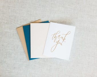 Thank You Card  Set or Individual - Foil Greeting Cards
