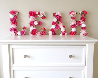Floral Letter, Flower Letter, Baby Girl Nursery Wall Art, Photography Prop, Baby Shower Decor, First Birthday Party Decor, Girl Room Decor