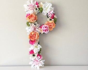 "Flower Letter 19"" 24"", Custom Floral Letter, Nursery Letter, Shower Decor, Party Decor, Photoshoot Prop, Girl Gift, Shower Gift, Girl Room"