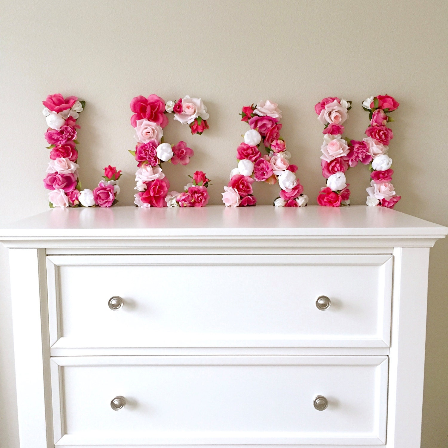 Floral letter flower letter baby girl nursery wall art for Baby girl wall decoration