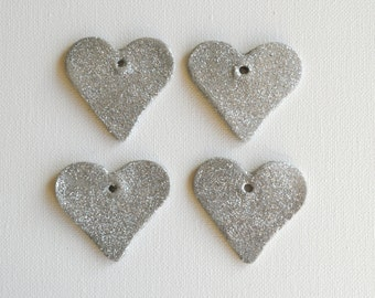 Silver glitter grey heart tags, set of 4. Silver glitter gift tags, sparkle gift tags, grey clay tags, glitter wedding favors, sparkly gift