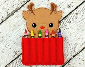 Reindeer Crayon Holder - Stocking Stuffer - Drawing Set - Travel Art Set
