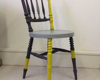 Chair wooden vintage upcyles in grey and yellow