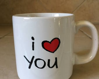 Vintage Russ Berrie I Love you Coffee Mug - 80s coffee mug - heart - love - romance