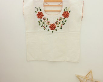 Mexican embroidered blouse/Brown and Green FLOWERS