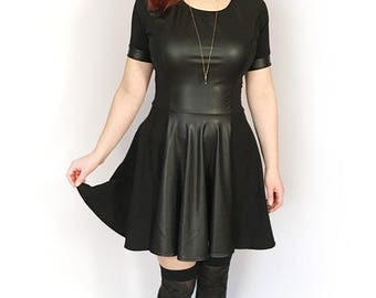 Faux Leather Dress, Skater Skirt Dress, Leather Skater Dress, Gothic Summer Dress, Gothic Prom Dress, Little Black Dress, Black Gothic Dress