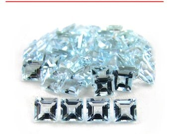 0.22-0.32 Cts of 4 mm AA Square Aquamarine ( 1 pc ) Loose Gemstone-391427
