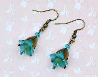 Vintage floral earrings, lily earrings, turquoise floral earrings, bluebell earrings, romantic earrings