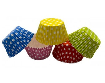 30 colored polka dot cups 8 cm