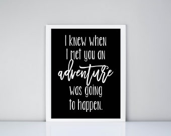 I knew when I met you an adventure was going to happen Printable // Winnie the Pooh Quote // Nursery // Baby room decor // Girls Room Decor