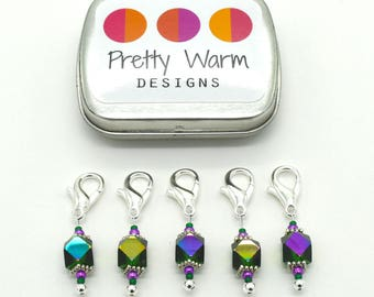 Green Progress Keepers - Locking Markers - Crochet Markers - Snag Free Stitch Markers - Beaded Stitch Holders - Knitting Stitchmarkers
