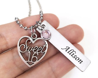Necklace with Sweet 16 charm/ Birthstone/ Personalized rectangle bar for 16th Birthday Gift(2)