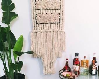 Large fluffy white/lilac macrame wall hanging