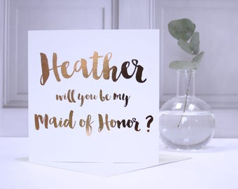 Personalised Foil Will You Be My Maid Of Honor Card - Personalised Foil Will You Be My Maid Of Honour Card