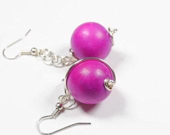 5th wedding gift,  anniversary idea, minimalist beaded  earrings, dangly wooden bead soda pink drop earrings,