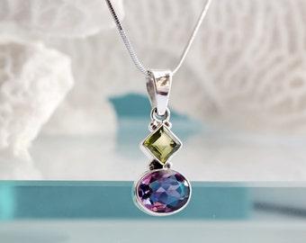 Peridot Necklace, Amethyst Necklace, February August Birthstone Necklace, Amethyst Peridot Silver Pendant, Geometric Necklace, Everyday