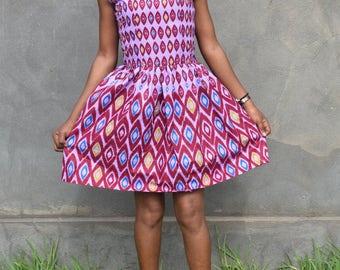 Handmade African Short A-Line Printed Dress